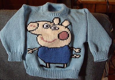 George The Pig...   ..new ..size 3-4...  Hand Knitted 100% Acrylic