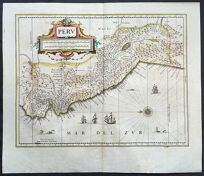 1639 Jan Jansson Old, Antique Map of Peru, South America - Spanish Invasion