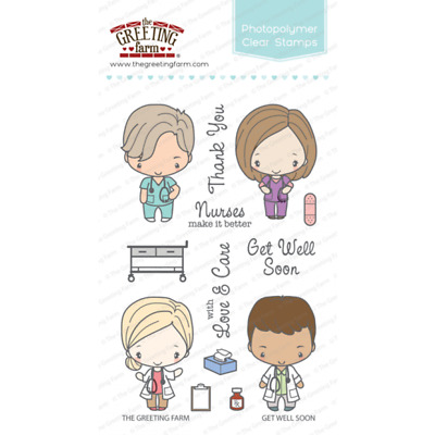 GET WELL SOON Stamps/Dies Set-The Greeting Farm-Stamping-Anya&Ian-Doctor/Nurse