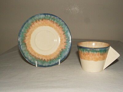 Clarice Cliff Art Deco Bizarre Abstract Aura Conical Cup & Saucer   Stunning