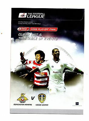 2007-2008 Doncaster v Leeds Play Off Final - Guest List & Timetable of Events