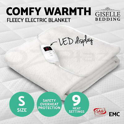 Fleecy Electric Blanket Heated Fully Fitted Washable Fleece Underlay Single Bed