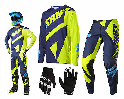 Shift 3Lack Mainline MX Combo neon gelb blau Enduro Cross Hose und Jersey