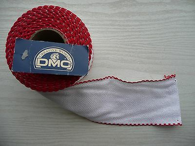 """Cross stitch fabric Aida Band Red Edging 3"""" wide New by DMC  1metre length"""