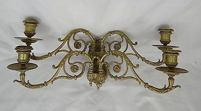 French Pair of Antique Bronze Wall Lights Piano Louis XVI Ribbon -Signed Michau
