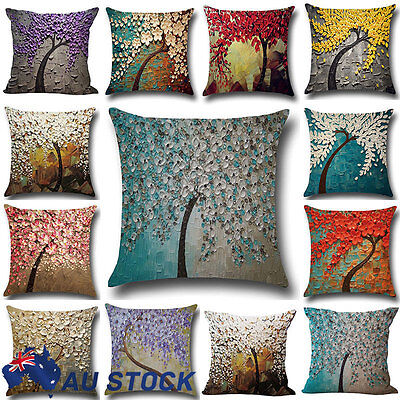 Flower Cotton Linen Pillow Case Waist Back Throw Cushion Cover Home Decor Sofa