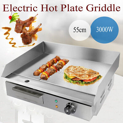 Commercial Electric Griddle Hot Plate 55cm Countertop Grill BBQ CE Certified