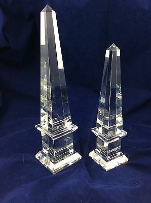 Pair of Vintage Glass Obelisk Cut Crystal Paperweights Ornaments