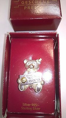 Steiff 1993 Club Pin Badge 925 Solid Sterling Sliver Bear with box