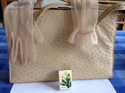 Vintage Czarina Leather Large Bag + Matches+ Pretty Gloves