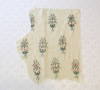 Vintage Cream Art Deco Delicate Embroidered Medallions Wool Scrap Remnant 13x19