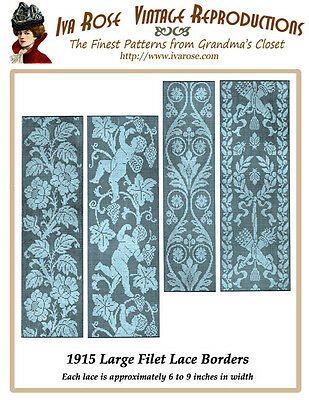1915 Filet Lace Chart Pack Large Filet Lace Insertions