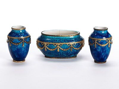 Paul Jean Millet Sevres Garniture Metal Mounted Vases 1900