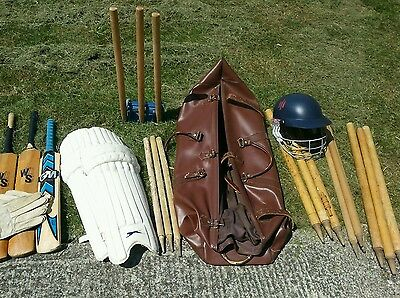 Cricket equipment and leather bag