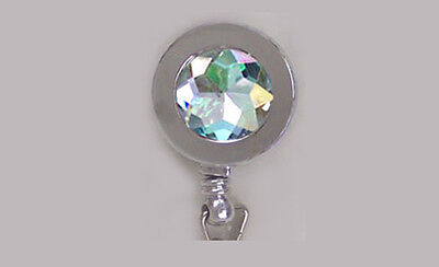 Silver RHINESTONE Retractable ID Badge Reel/Security Card Holder/Key Chain Ring