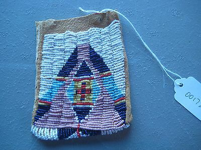 Northern Plains Beaded  Medicine Pouch, Native American Beaded Bag, #co-00178