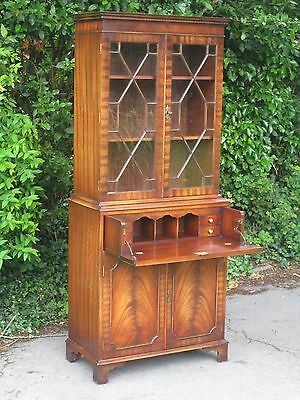 Bevan Funnell Reprodux Mahogany Secretaire Bookcase With Astragal Glazing