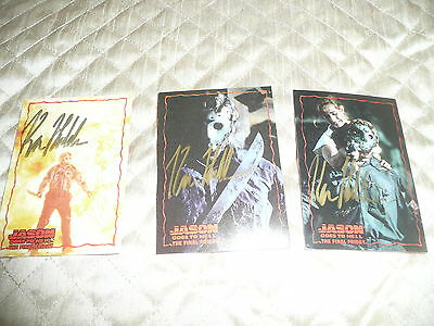 ( LOT 12 )  3 different trading cards from JASON GOES TO HELL 1993 ( SIGNED )