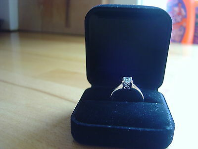 Solitaire  Engagement Ring.princess Cut.white Gold Fillled.  Size. Q.