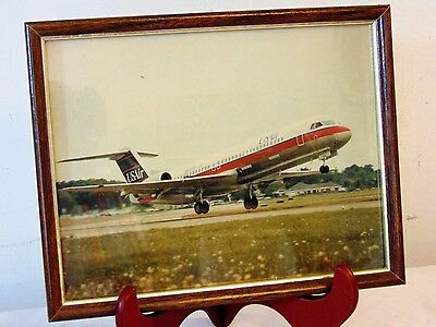 Vtg US Airways US Air Jet Airliner Color Photo Aircraft Airplane Aviation Framed