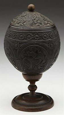 Antique Chinese/se Asian Carved Lidded Coconut Cup 18/19Th C.