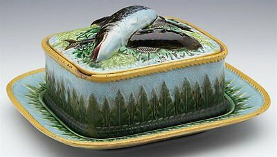 Antique George Jones Majolica Lidded Sardine Dish And Stand C.1865