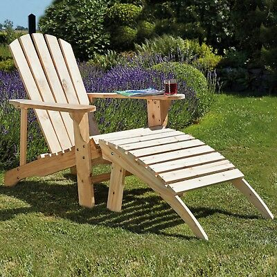 Adirondack Garden Chair Table Footrest Seats Outdoor Patio Wooden Furniture NEW