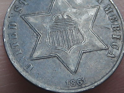 1861 Three 3 Cent Silver Trime- VF/XF Details
