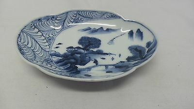 Vintage/Antique Japanese Blue White Porcelain Small Dish Diamond T Backstamp