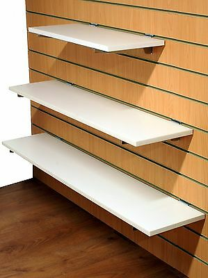 1000mm Wooden Shelf for Slatwall in White with 1 x Pair of Brackets (D20W+OB6)