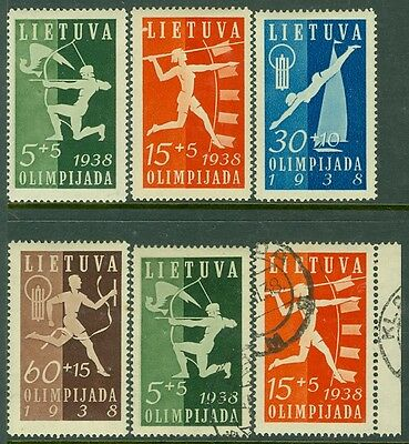 EDW1949SELL : LITHUANIA 1938 Sc#B43-46 Sports VF MOGH Also 2 values Used Cat $54