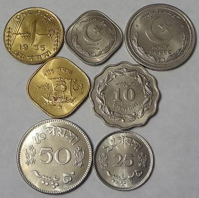 1948-1964 Pakistan, 7 Different Coins, Including 3 Proof Coins, High Grade