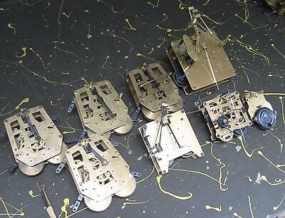 Lot of 8 German made Clock Movements Parts As Is