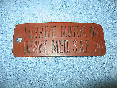 Vintage Mobiloil Motor Oil Lubster Tag,heavy Med S.a.e 30,leather/rubber ?,mobil