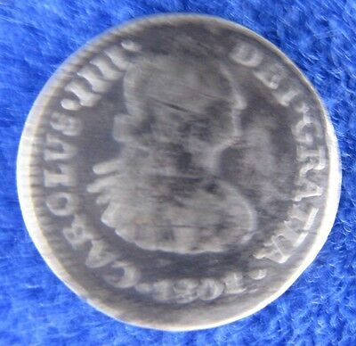 1801 Mexican 1/2 Real Silver Coin