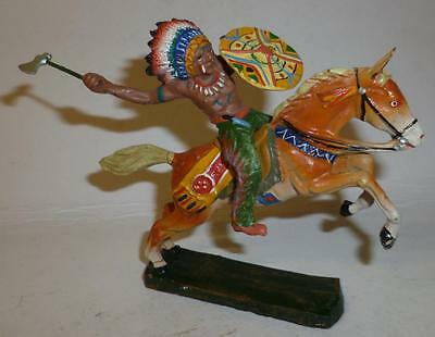 Elastolin Vintage Composition Wild West Indian On Horseback With Tomahawk