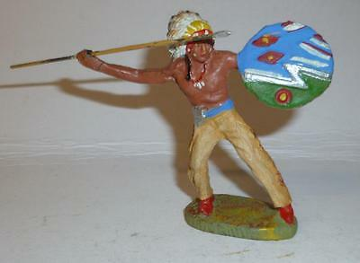 Elastolin Vintage Composition Wild West Indian Throwing A Spear