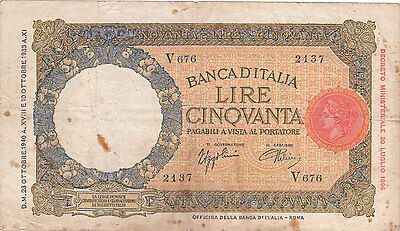 Italy Banknote - 50 Lire from 1940