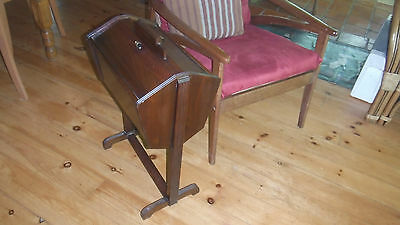 Vintage Mahogany Solid Wood Chair Height Sewing Stand or Knitting Storage Basket