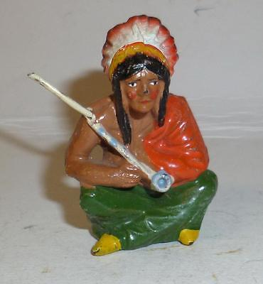 Elastolin Vintage Composition Wild West Indian Sitting With A Pipe