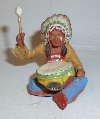 Elastolin Vintage Composition Wild West Indian Sitting With A Drum