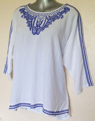Tu white & blue KAFTAN 18 with embroidery 3/4 sleeve Batwing sleeve NEW  S2