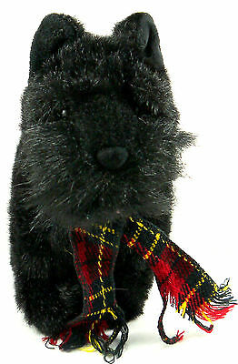 "Beautiful Soft Russ Berrie Plush Black Scottish Dog Shadow 10"" Long"