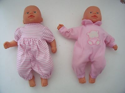 2 x  TWIN MY FIRST BABY BORN/ANNABELL/CHOU DOLL  IN OUTFITS/ZAPF - BLUE EYES