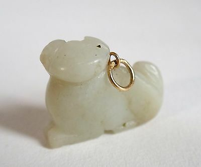 Fine 19th century antique Chinese carved mutton jade dog pendant