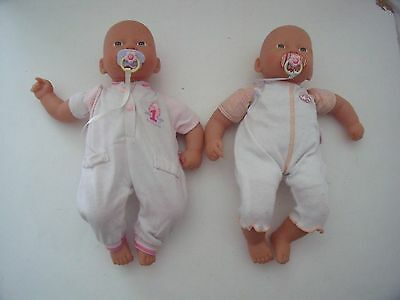 2 x  TWIN MY FIRST BABY BORN DOLL + OUTFITS + dummies  ZAPF -    ANNABELL/CHOU C
