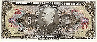 Cinco Cruzeiros 5 Banknote Republica Dos Estados Unidos Do Brasil