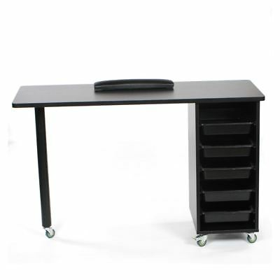 Urbanity Metro Nail Technician Desk Table Salon Manicure Workstation Black