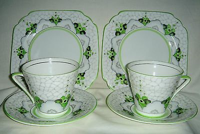 Pair Of Art Deco Trios H/painted Stylised Flowers Cups, Saucers, Plates #c1188