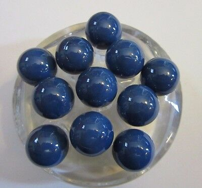 "Lot of 11 5/8"" Solid Blue Marbles From Marble King Paden City WV  WEG3"